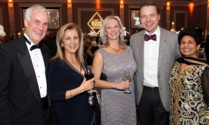 From left, Don Finless and his wife, Sandra Zed Finless, with Anna Fazekas and her husband, Dr. Paul Beaulé,  and Saroj Aggarwal, at the Dhadkan 2017: Midas Touch fundraiser for the Ottawa Regional Cancer Foundation, hosted by and at the Infinity Convention Centre on Friday, November 17, 2017. Photo by Caroline Phillips