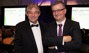 From left, ex-Nortel Networks engineer-turned inventor Bruce Murison with Ottawa lawyer Randy Marusyk, MBM Intellectual Property Law, at the Black Tie Bingo fundraiser held at the Ottawa Conference and Event Centre on Saturday, November 18, 2017. Photo by Caroline Phillips
