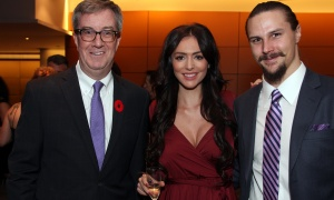 "Mayor Jim Watson with Melinda Karlsson and Erik Karlsson at Habitat for Humanity Greater Ottawa's Steel Toes and Stilettos ""Full Moon"" Gala, held at the Shaw Centre on Saturday, November 4, 2017. Photo by Caroline Phillips"