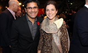 Attorney General Yasir Naqvi, MPP for Ottawa Centre, and his wife, Christine McMillan,  in the food lineup at the at the 2017 Gold Medal Plates Ottawa gala held at the Shaw Centre on Thursday, November 9, 2017. Photo by Caroline Phillips