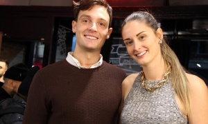 A clean-shaven Will Bulmer,  chair of November Ottawa, with his girlfriend, Lainna Buch, at the Capital Barber Shop in the Glebe on Wednesday, November 1, 2017, for the kick-off of the month-long fundraiser and awareness campaign for men's health. Photo by Caroline Phillips