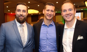 From left, Greg Ewin, Paul Domenicucci and Trevor Hawkins, account executives with Experis-Veritaaq, in the food lineup at the Christmas Cheer Breakfast held at the Westin Ottawa on Friday, December 8, 2017. Photo by Caroline Phillips
