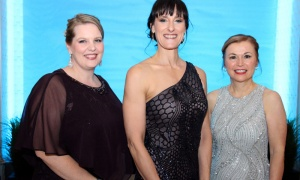 From left, Businesswoman of the Year finalists Karen Hennessey, Dr. Nathalie Beauchamp and Dr. Renata Frankovich, in the professional category, at The BYAs, held Thursday, April 19, 2018, at the Infinity Convention Centre. Photo by Caroline Phillips