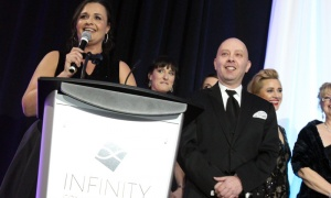 Radio personalities Sandra Plagakis and Chris Snow hosted this year's Businesswoman of the Year Awards Gala, held at the Infinity Convention Centre. Photo by Caroline Phillips