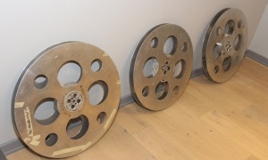 These three movie reels are reminders of the former movie theatre that occupied the space now used by Ottawa software company Klipfolio. Photo by Caroline Phillips