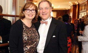 Heather Bradley, director of communications for the Speaker of the House of Commons and a member of the organizing committee for Politics and the Pen, with her husband, Michael Scrivens, at this year's literary gala held at the Fairmont Chateau Laurier on Wednesday, May 9, 2018. Photo by Caroline Phillips