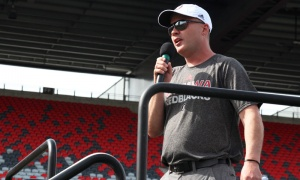 Redblacks head coach Rick Campbell welcomes a sold-out crowd of 360 to TD Place Stadium on Tuesday, June 12, 2018 for the Redblacks Women's Training Camp held in support of the OSEG Foundation. Photo by Caroline Phillips