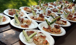Kentucky bourbon-flambéed shrimp with cucumber benedictine were on the menu at this year's 4th of July Celebration, hosted by the U.S. Embassy.