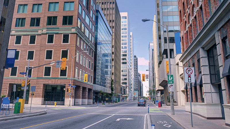 A street in Ottawa's downtown core