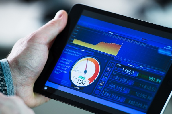 A tablet displaying an energy dashboard