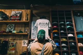 Randy Hogg stocks his products at local skateshop, Top of the World