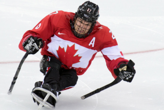 A member of Canada's sledge hockey team