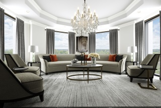 A rendering of a living room in a 1451 Wellington unit